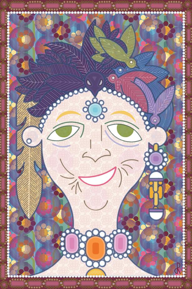 Vieille dame parée de nombreux bijoux