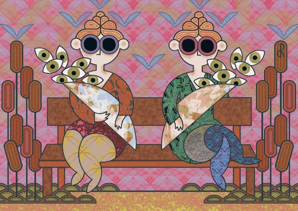 Porteuses de lunettes noires et de bouquets d'yeux