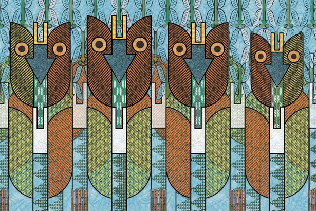 Arbres naifs en forme de flèches et de hiboux