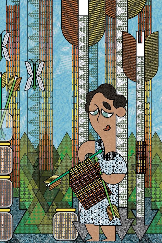 Archer tricotant avec des flèches
