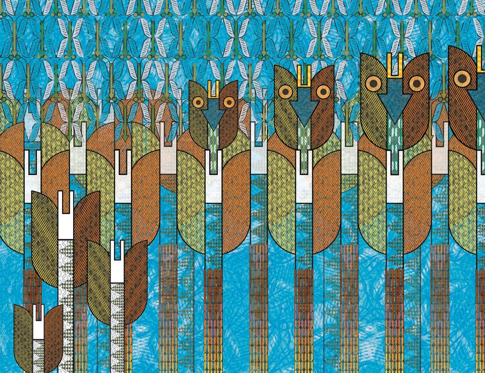 Représentation naïve d'arbres, de flèches et de hiboux