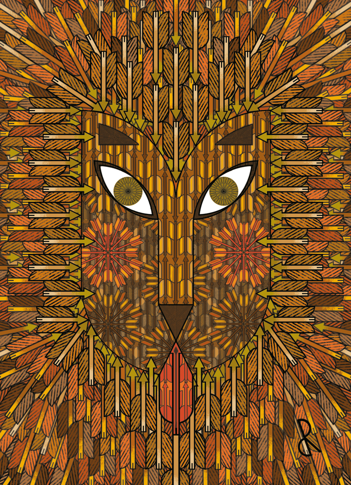 Portrait naïf d'un lion à la crinière criblée de flèches