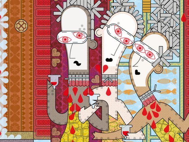 Joyeux trio masqué vidant des coupes menstruelles à l'heure de l'apéro