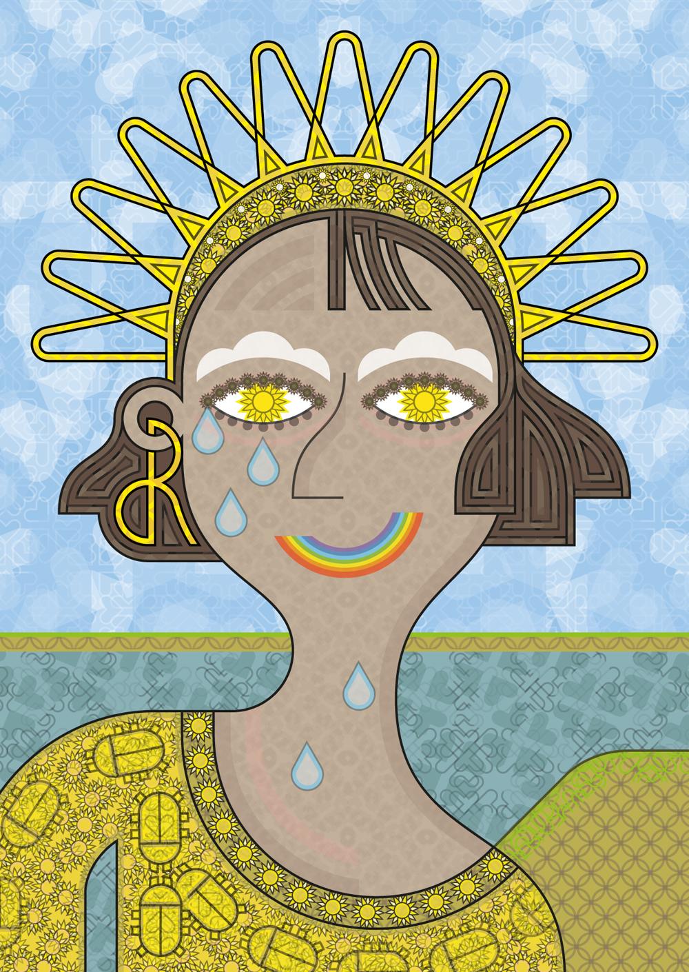Soleil pupille, chaudes larmes et bouche arc-en-ciel dessinent un souriant visage