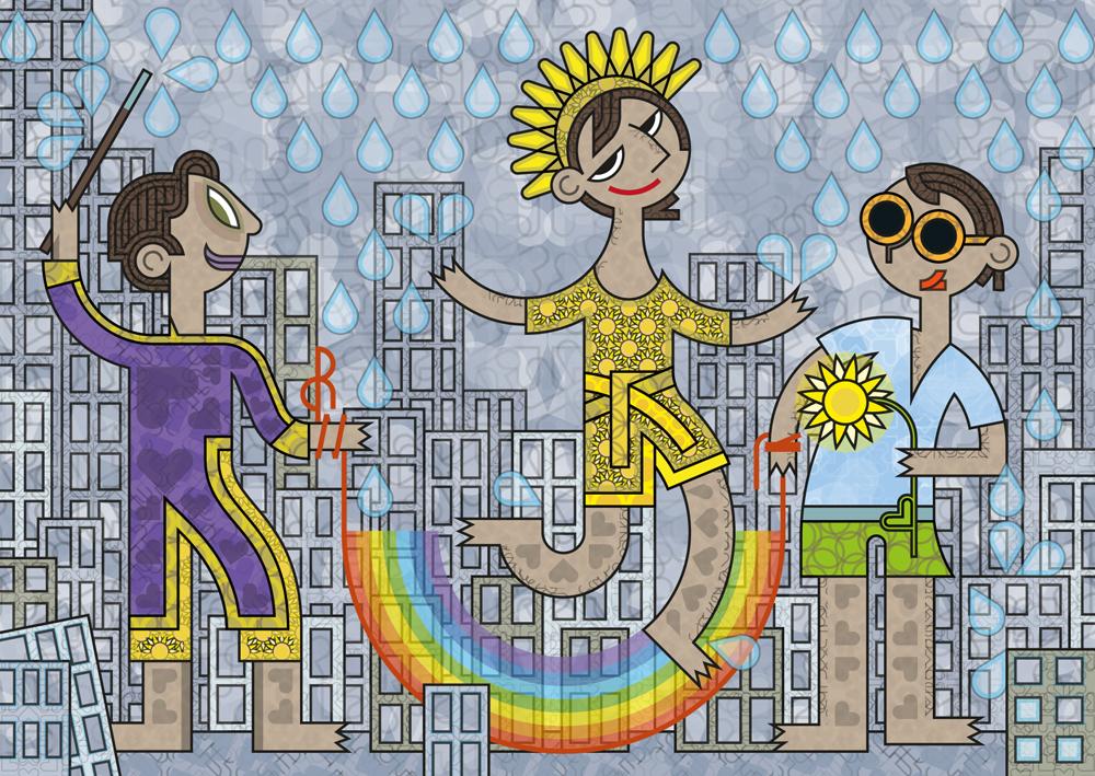 Trois personnages utilisant un arc-en-ciel comme corde à sauter